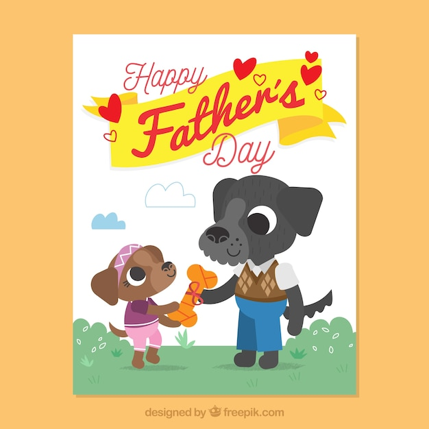 Fantastic father's day card with cute dogs