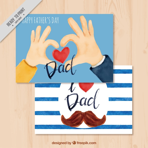 Fantastic father's day cards in watercolor style Free Vector