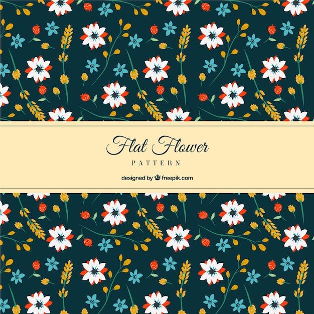 Fantastic floral pattern in flat design Free Vector