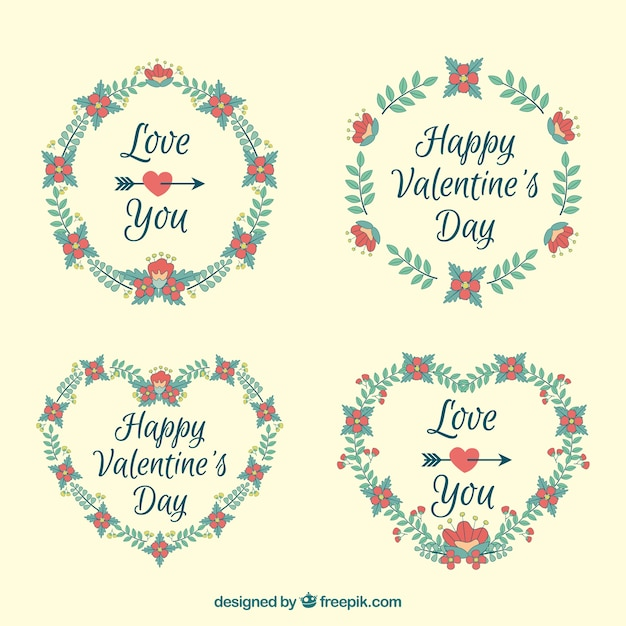 Fantastic floral wreaths with red flowers for\ valentine\'s day