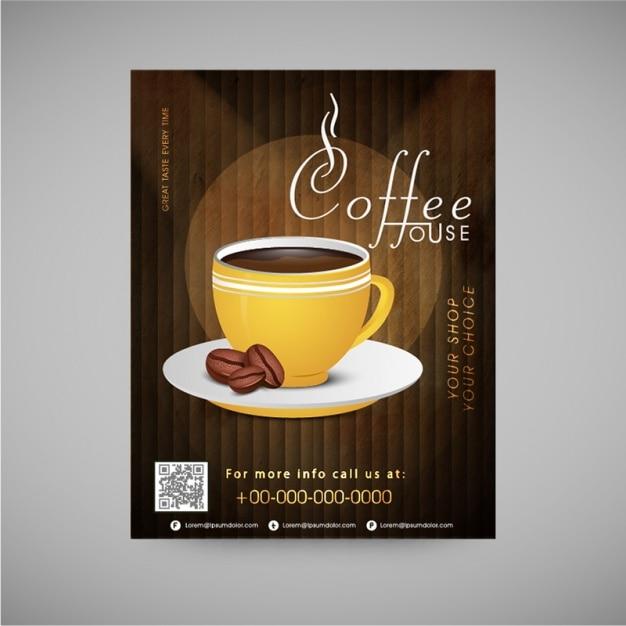 Фантастическая листовка для кофейни Premium векторы