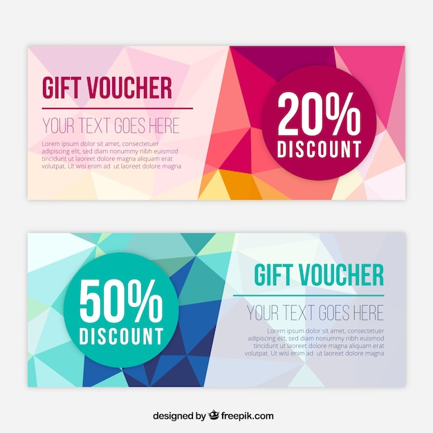 Delightful Fantastic Gift Vouchers With Polygonal Shapes  Discount Coupons Templates