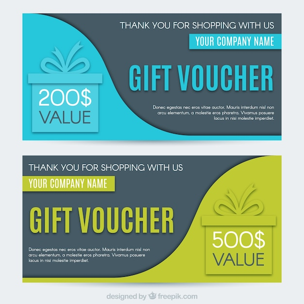 Fantastic gift vouchers with wavy shapes Free Vector