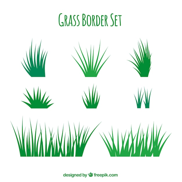 Fantastic grass borders with variety of designs Free Vector