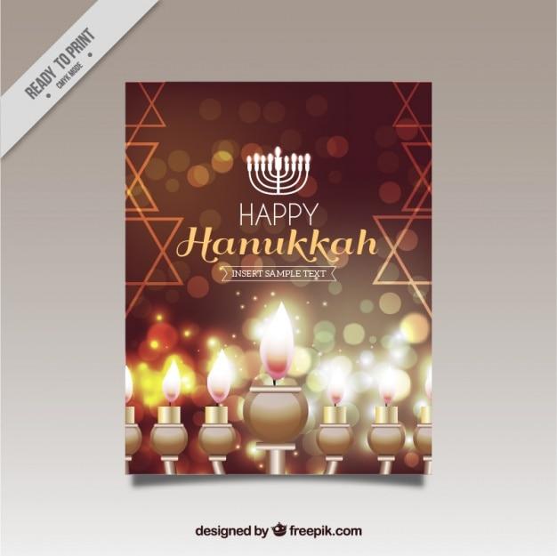 Fantastic hanukkah greeting card with shiny\ candles