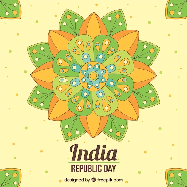Fantastic indian republic day background with colorful mandala