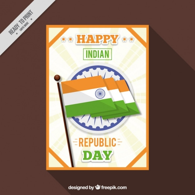 Fantastic indian republic day card with orange frame