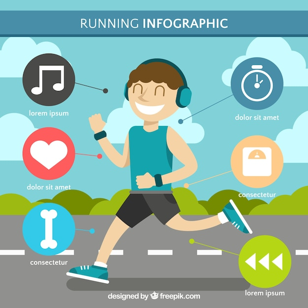 Fantastic infographic template of man running Free Vector
