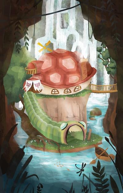 Fantastic island illustration Premium Vector