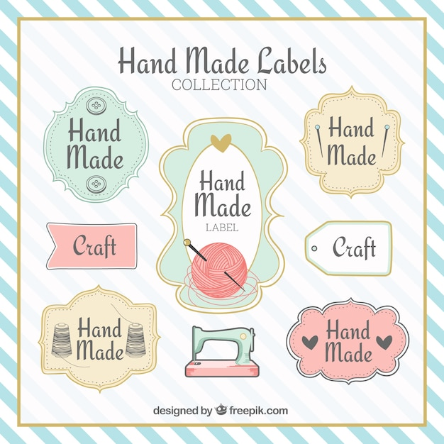 Fantastic labels about crafts Free Vector