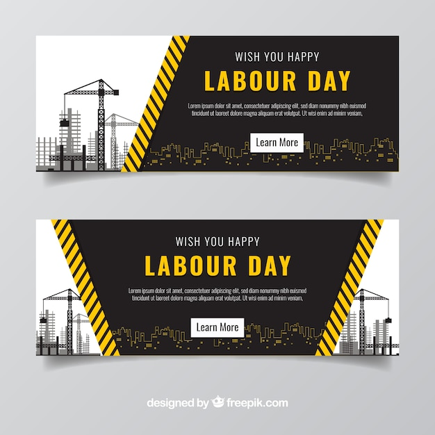 Fantastic labour day banners with constructions Free Vector