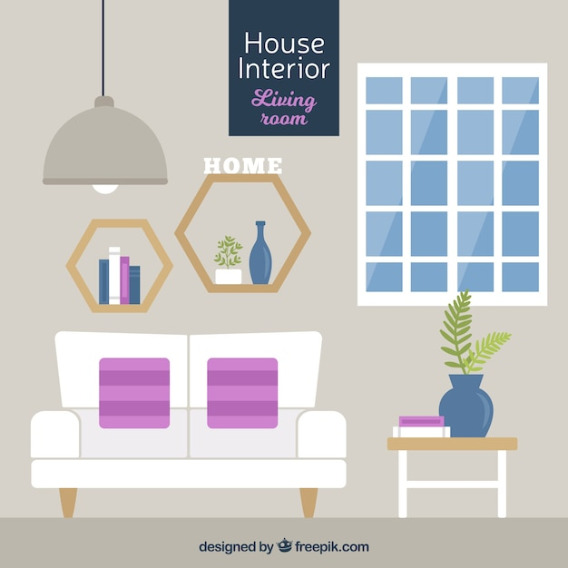 Fantastic living room in flat design vector free download for Room design vector