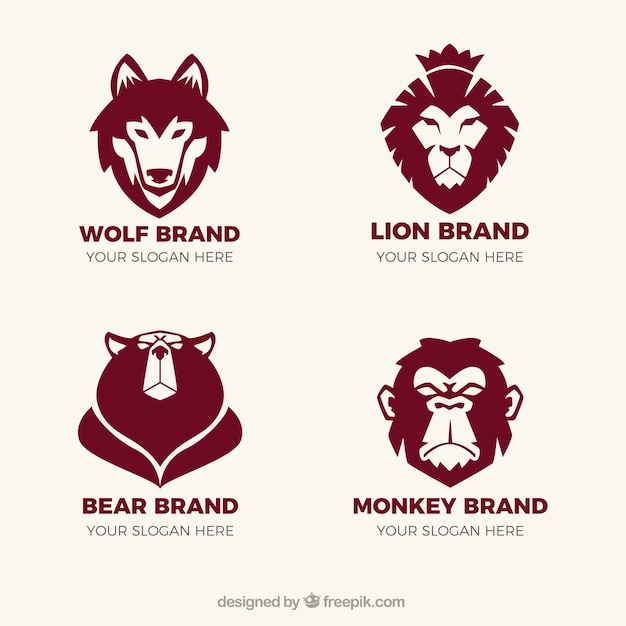 Fantastic logos with animals Free Vector
