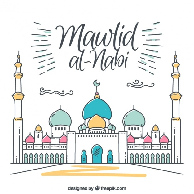Fantastic mawlid background of mosque with details of color Free Vector