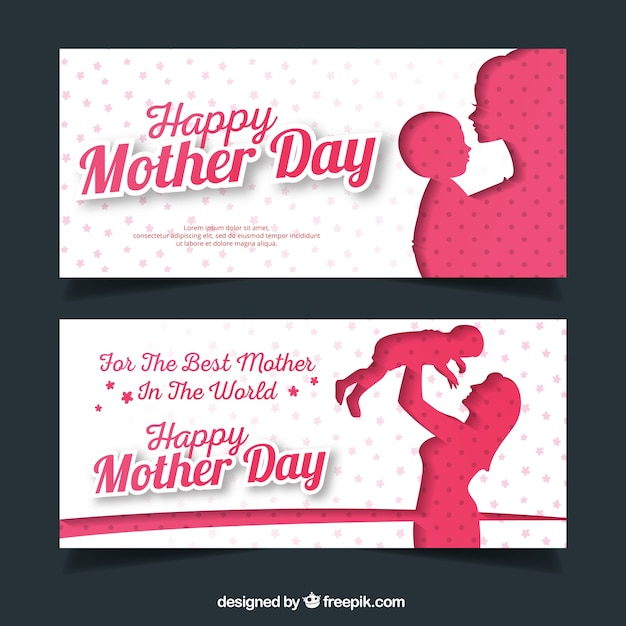 Fantastic mother's day banners with silhouettes Free Vector
