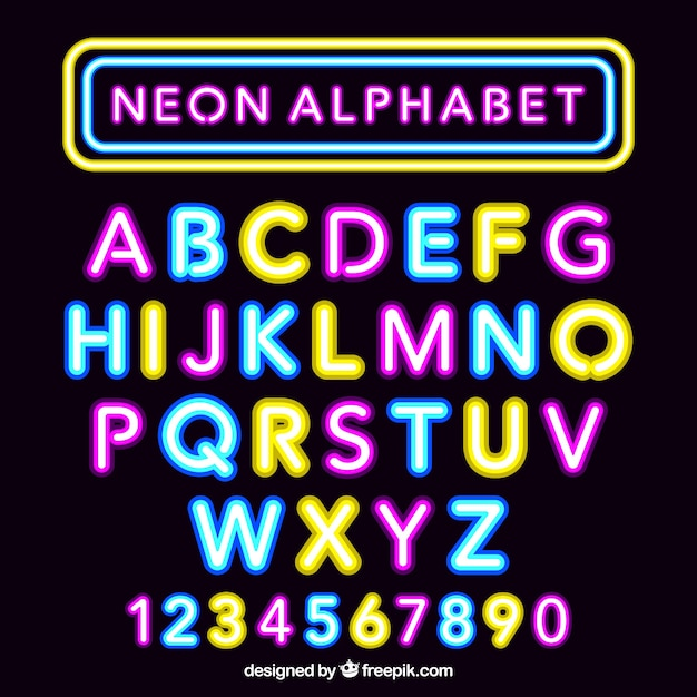 Fantastic Neon Alphabet Vector Free Download