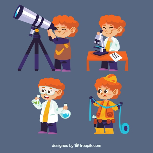 Fantastic pack of cute kid learning Free Vector