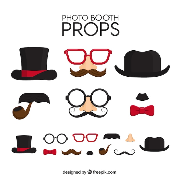 Fantastic pack of decorative photo booth items Free Vector