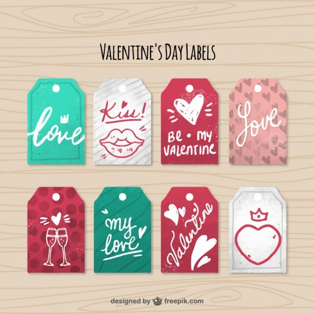 Fantastic Pack Of Eight ValentineS Day Labels Vector  Free Download