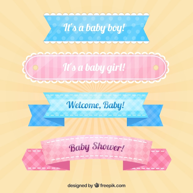 Fantastic Pack Of Four Decorative Baby Shower Ribbons Free Vector