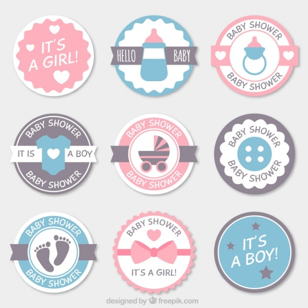 Fantastic pack of round baby shower badges Free Vector