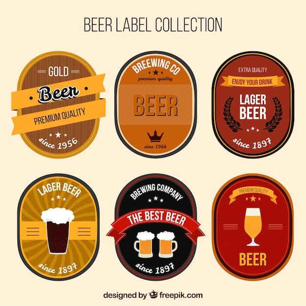 Fantastic Pack Of Six Beer Labels Free Vector