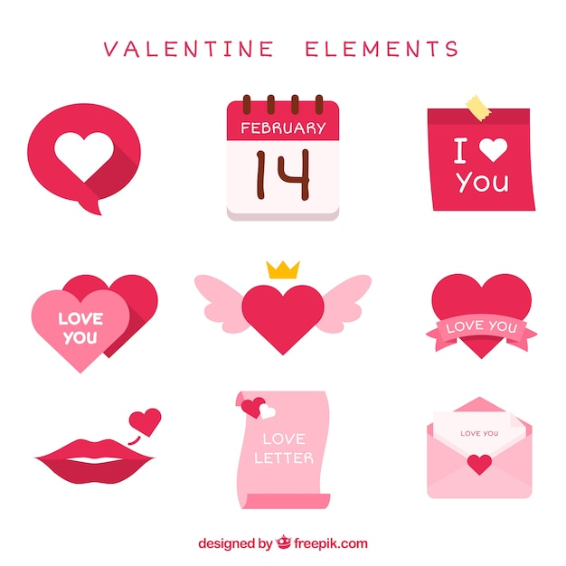 Fantastic pack of valentine items in pink tones Free Vector