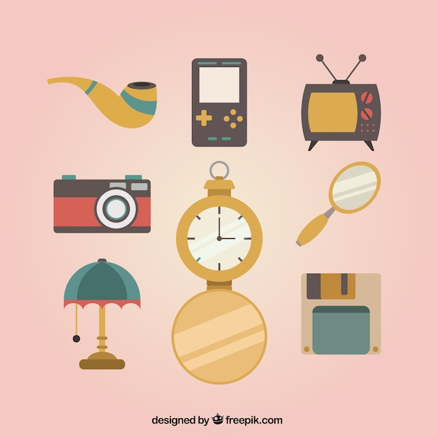 Fantastic pack of vintage objects Free Vector