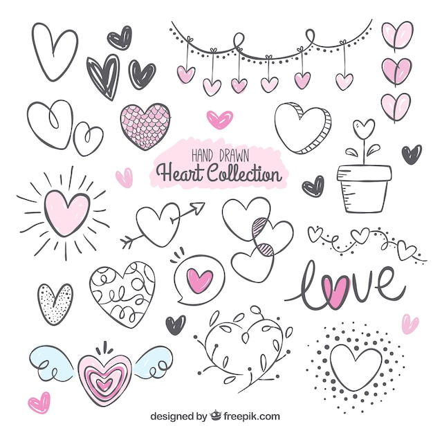 Fantastic pack with variety of hand-drawn hearts Free Vector