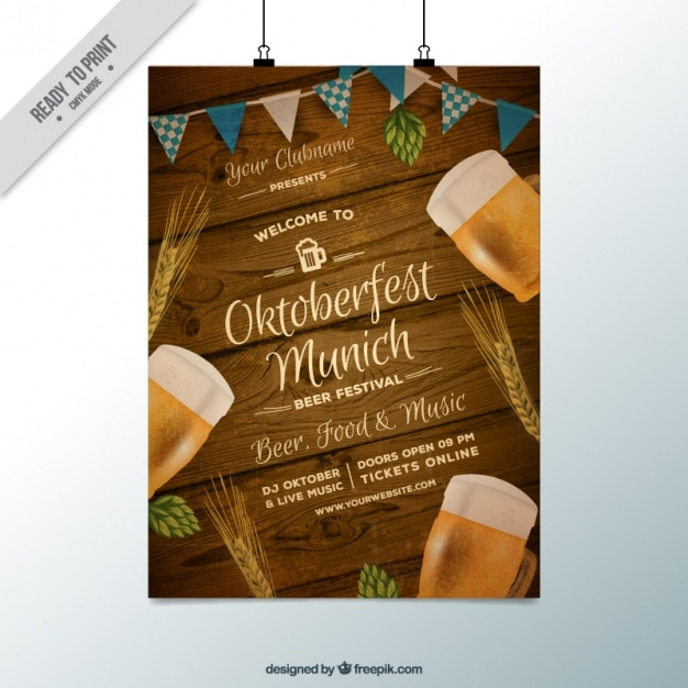 Fantastic poster with wood background for oktoberfest Free Vector