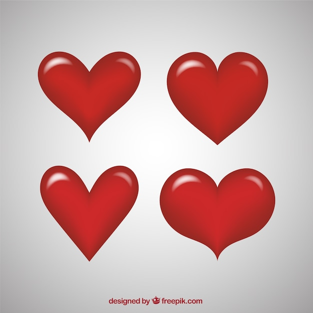 fantastic red hearts with different shapes vector free download