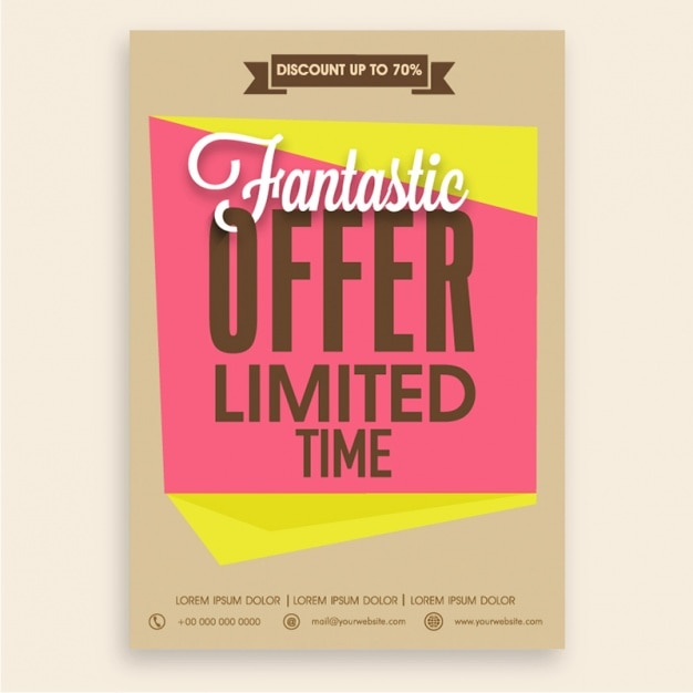 Fantastic sale flyer template with yellow and pink shapes Vector – Sales Flyer Template
