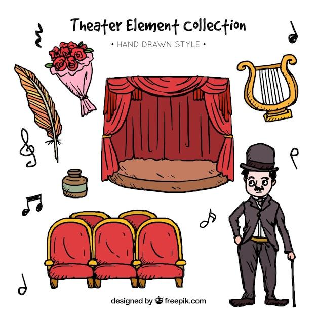 Fantastica selezione di elementi teatrali disegnati a mano Vettore gratuito