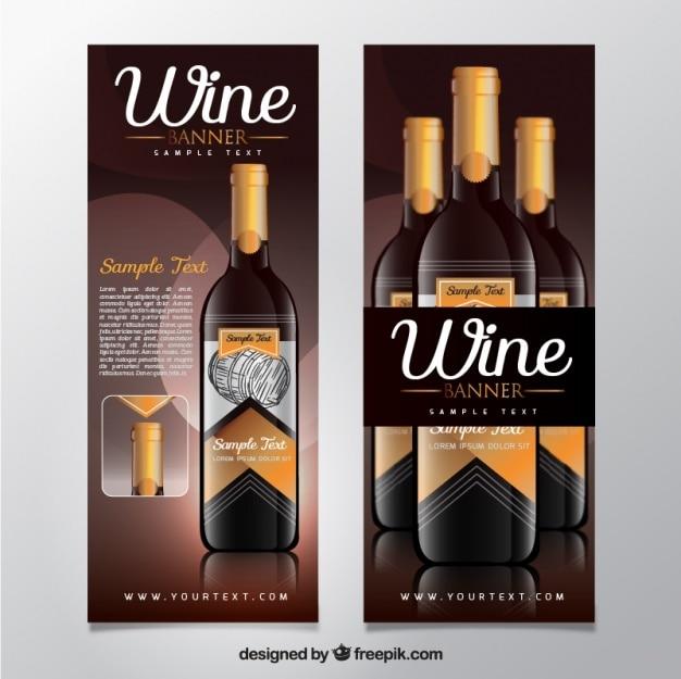 Fantastic set of realistic wine banners