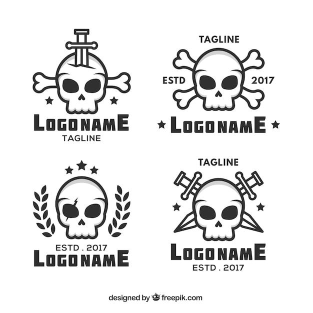 Фантастические логотипы черепа в плоском дизайне Бесплатные векторы