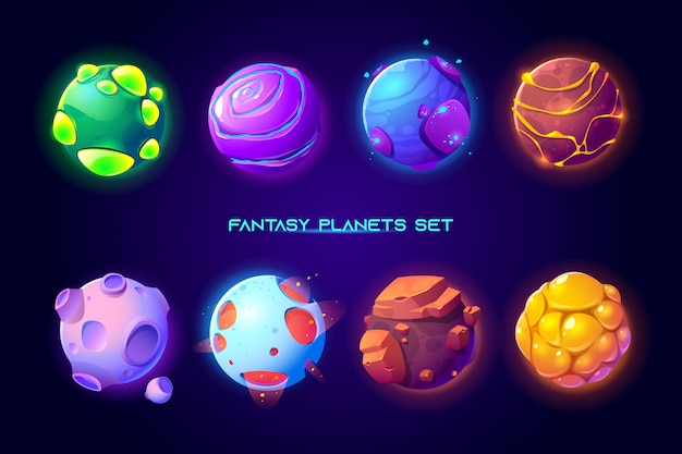 Fantastic space planets for ui galaxy game Free Vector