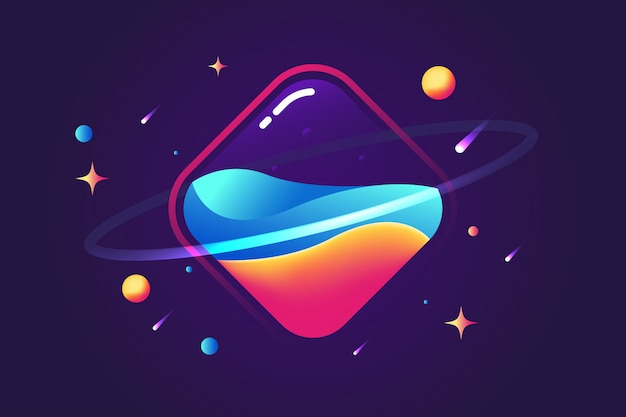 Fantastic square planet fluid background Premium Vector