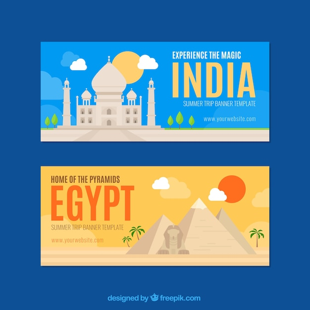 Fantastic travel banners to india and egypt Free Vector