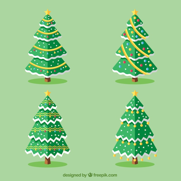 Fantastic trees with decoration for christmas | Free Vector