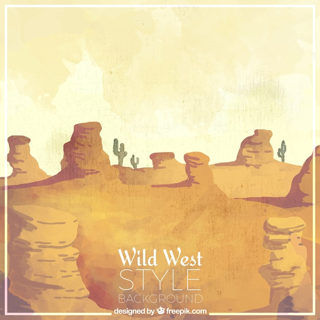 Fantastic western background in watercolor style Free Vector