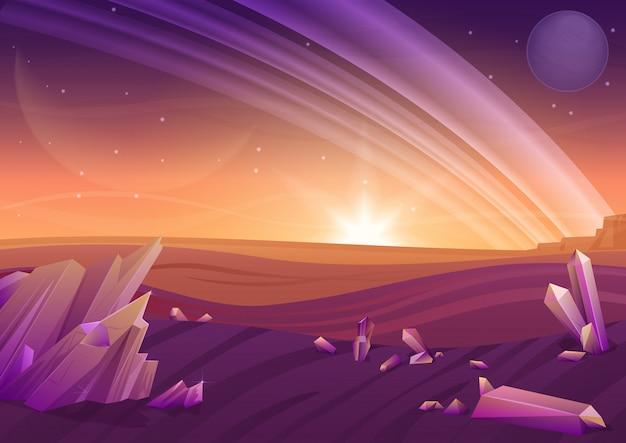 Фэнтезийный ландшафт пришельцев, другая природа планеты с камнями в полях и планеты в небе. игровой дизайн galaxy space. Premium векторы