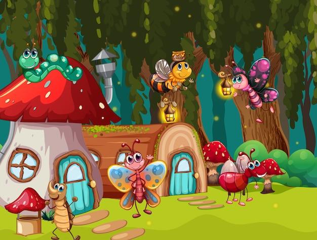 Fantasy bug in scene illustration Free Vector