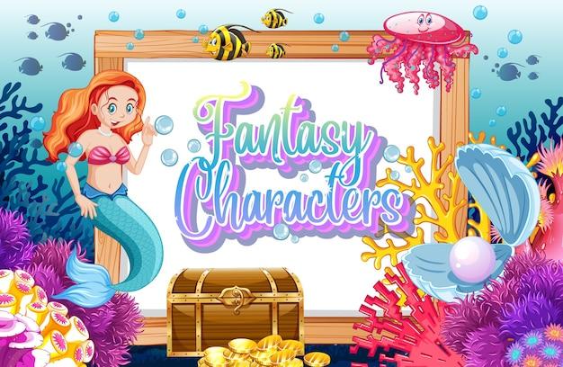 Логотип фэнтезийных персонажей с русалками на подводном фоне Бесплатные векторы