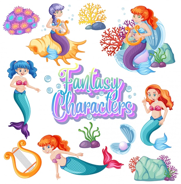 Fantasy characters logo with mermaids on white background Free Vector