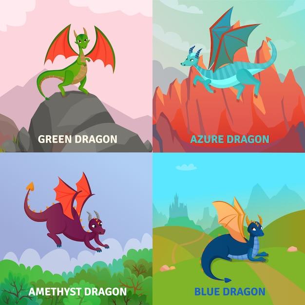 Fantasy dragons design concept Free Vector