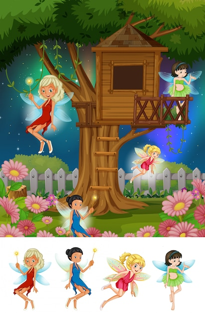 Fantasy fairy tale land Free Vector