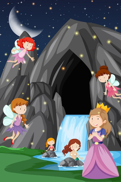 A fantasy fairytale land Free Vector
