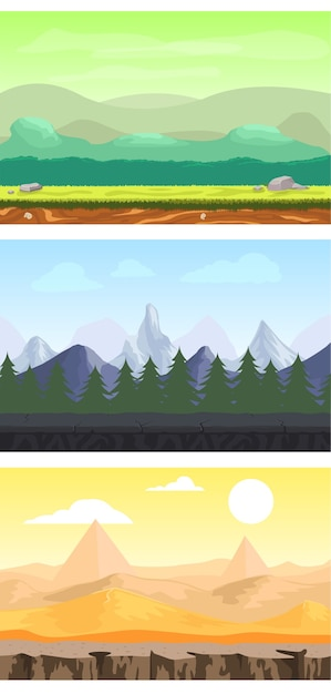 Fantasy game design landscapes set with meadow forest mountain and desert sceneries Free Vector