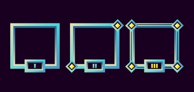 Fantasy game ui border frame with grade Premium Vector