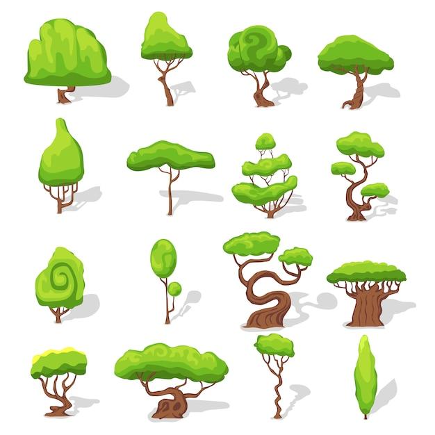 ファンタジー緑の木セット 無料ベクター